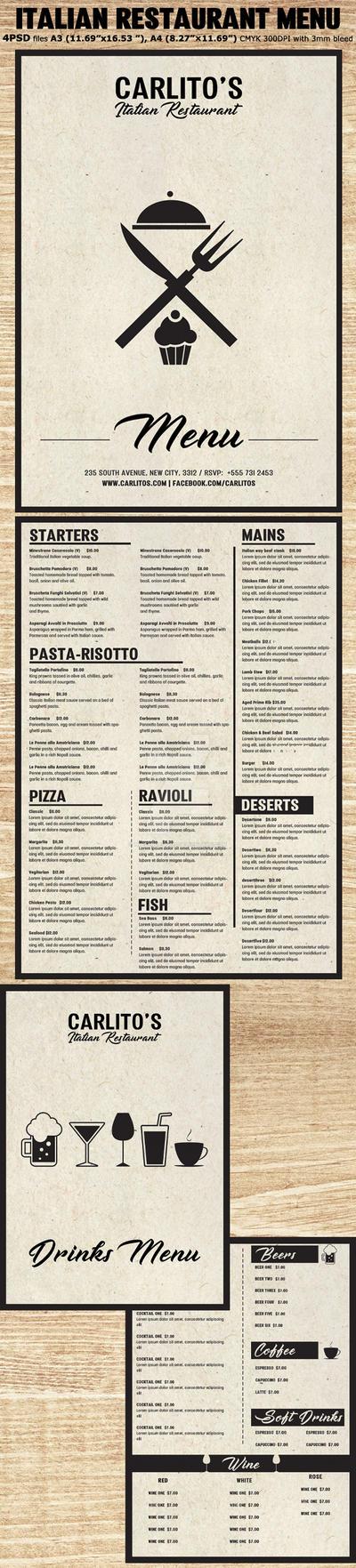 Italian Restaurant Menu Template by Hotpindesigns