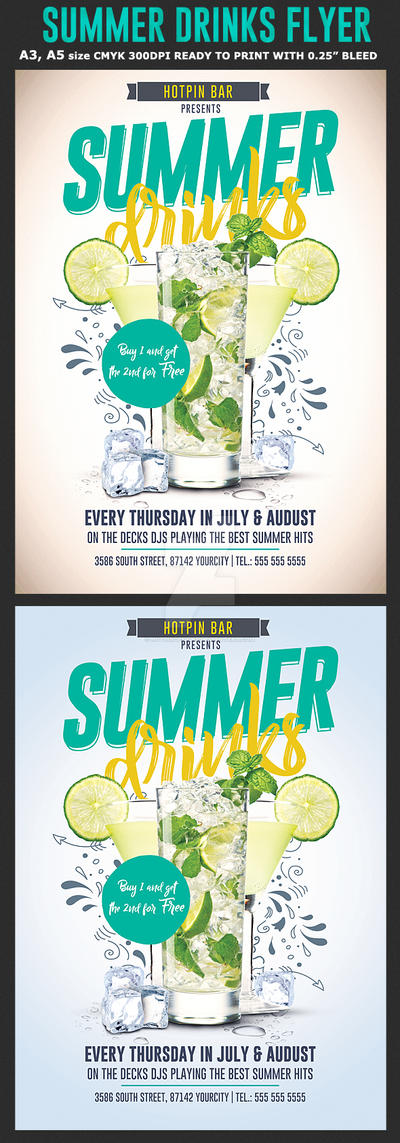 Summer Drinks Promotion Flyer Template by Hotpindesigns
