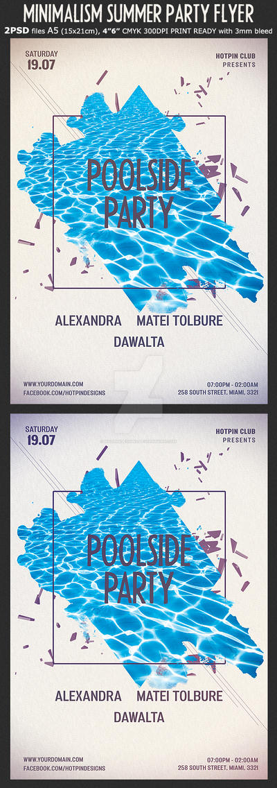 Minimal Summer Pool Party Flyer Template by Hotpindesigns