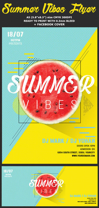 Summer Vibes Psd Flyer Template by Hotpindesigns