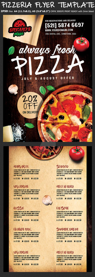 pizza flyer menu template by hotpindesigns on deviantart. Black Bedroom Furniture Sets. Home Design Ideas