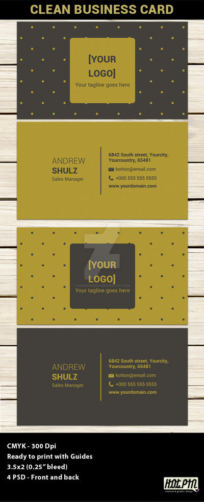 Clean Modern Business Card Template by Hotpindesigns
