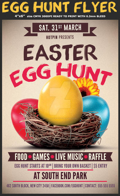 Easter Egg Hunt Flyer Template by Hotpindesigns