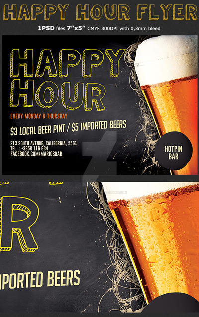 Happy Hour Flyer Template By Hotpindesigns
