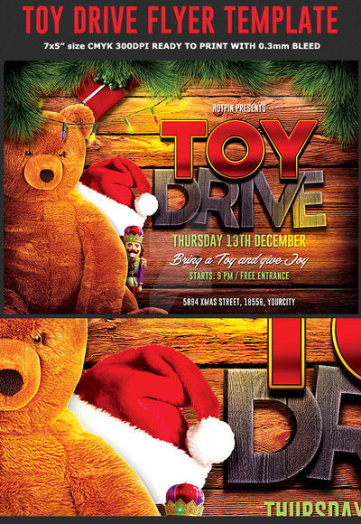 christmas toy drive flyer template by hotpindesigns on deviantart