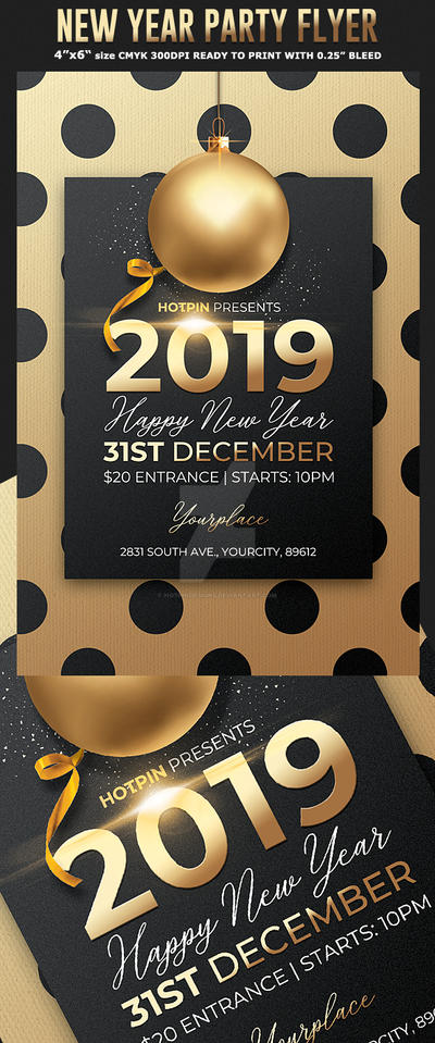 classy new year invitation flyer template by hotpindesigns