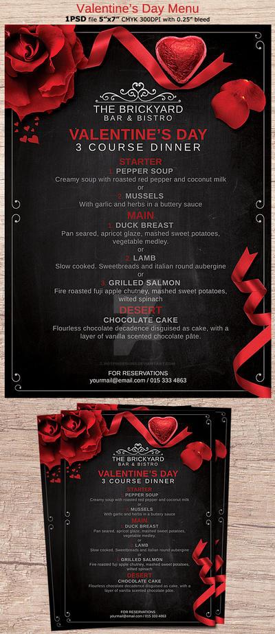 Valentines Day Menu Flyer By Hotpindesigns On Deviantart