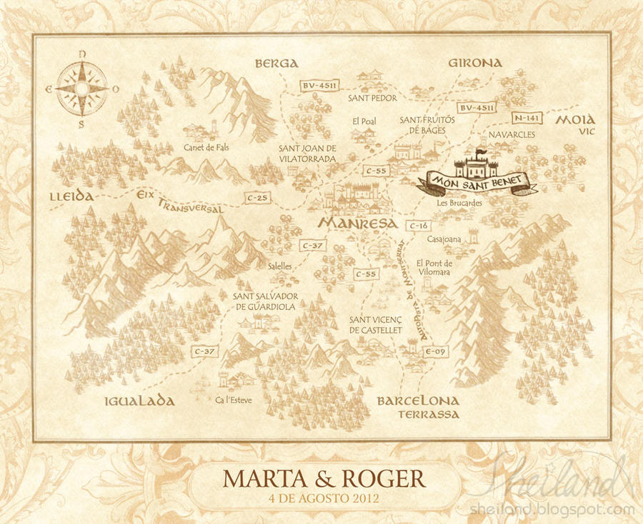Medieval Wedding Invitation Wording: Wedding Invitation For Marta + Roger_Medieval Map By