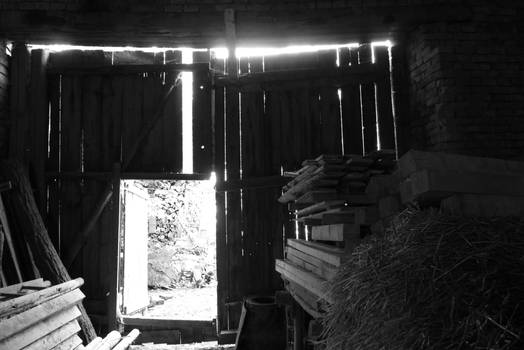 Inside a barn