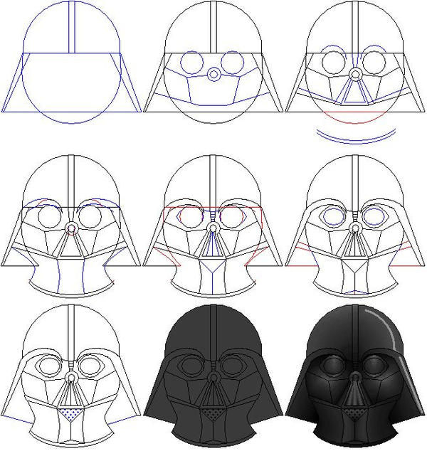 How to draw a Darth Vader from Star Wars in stages 34