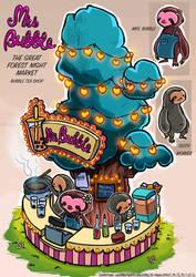 Mrs. Bubble's Bubble Tea Shop by KaynessArt