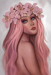 Pink Lilies by KaynessArt