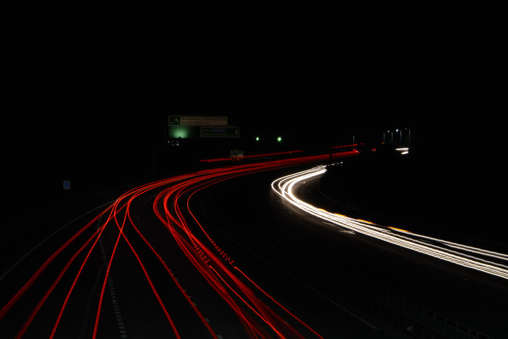 A27 Eastbound at night by HampshireBrony
