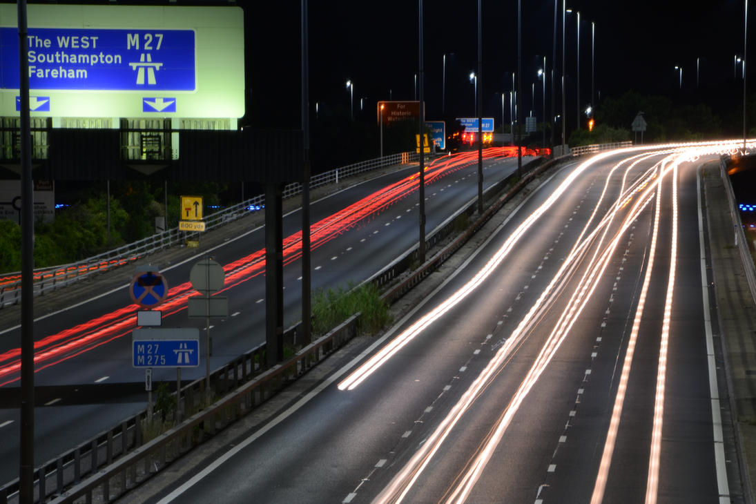 M27 Westbound - roadworks ahead by HampshireBrony