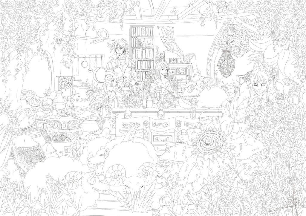 Line Art Forest : Line art elven forest by gallant on deviantart
