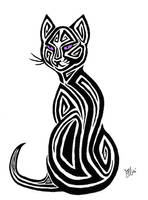 Tribal Cat Tattoo Design by AerynOustinne