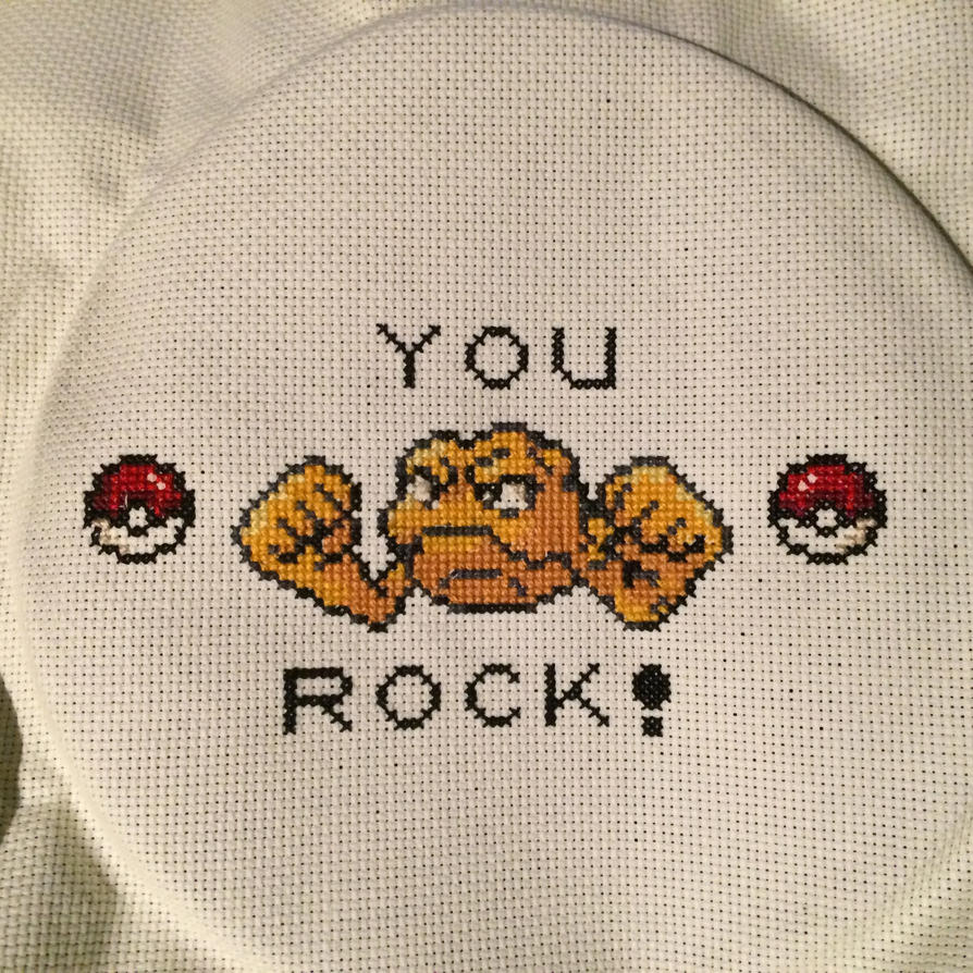 Geodude Cross-stitch by fartprincess