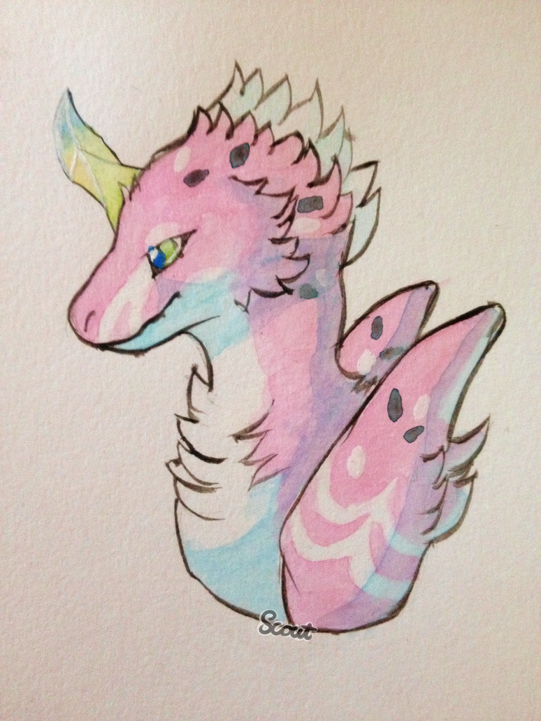 Watercolor Rum Dragon 1 by ScoutCritter