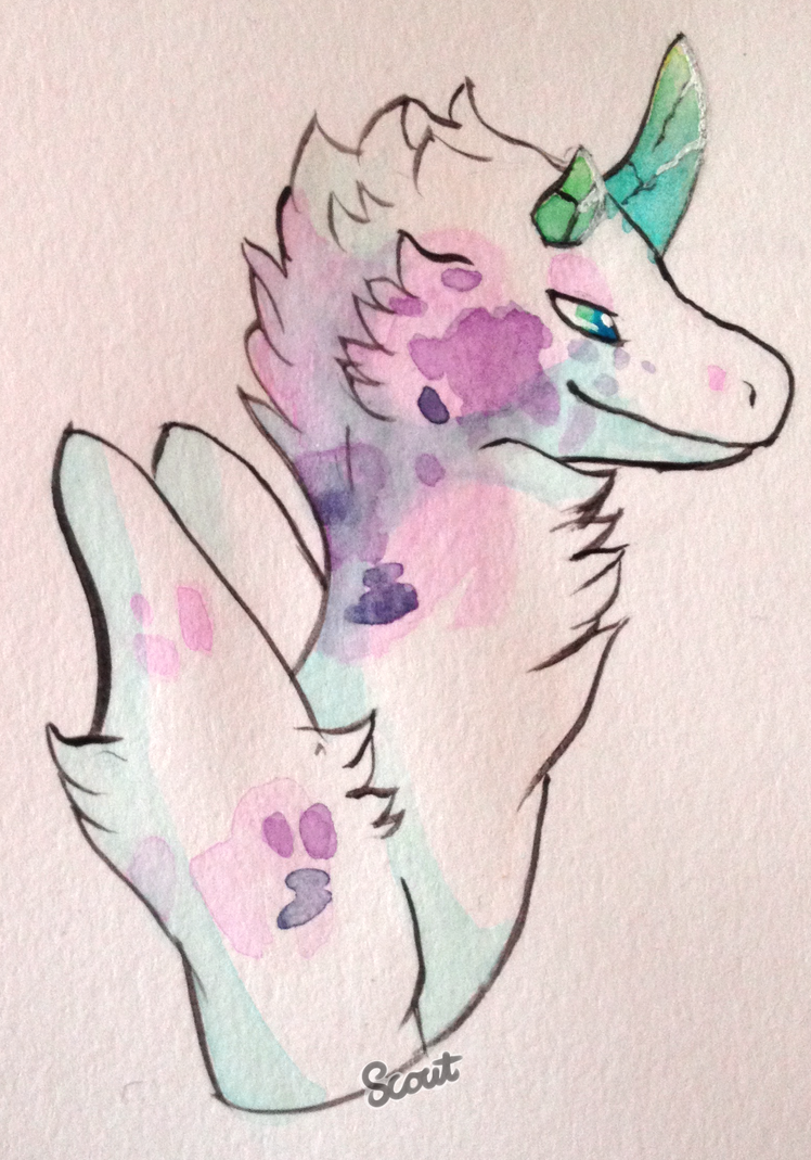 Watercolor Rum Dragon 2 by ScoutCritter