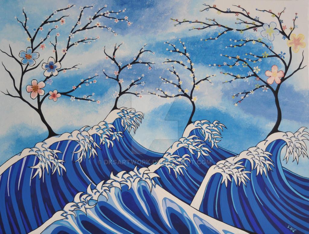 Cherry Blossom Waves by dksartwork