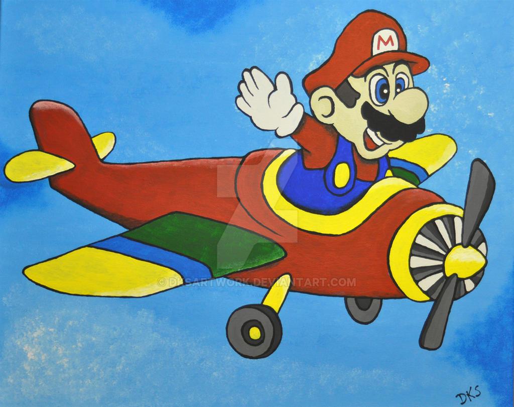 Flying Mario by dksartwork