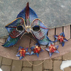 Leather orchid mask and hair clips