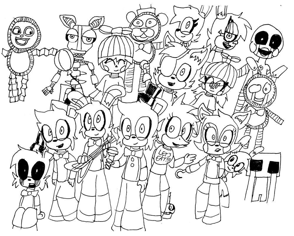 Fnaf all animatronics free coloring pages for Fnaf coloring pages nightmare