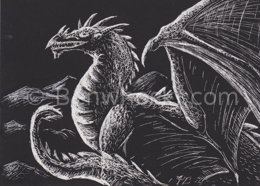 ACEO Scratchboard Dragon by benwhoski