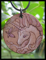 Unicorn and Butterfly Pendant by benwhoski