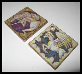 Unicorn and Pegasus Pendants by benwhoski
