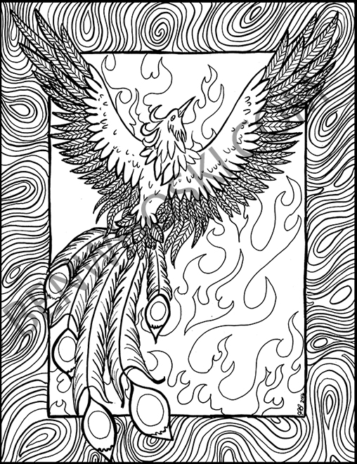 phoenix coloring pages - phoenix rising coloring page by benwhoski on deviantart