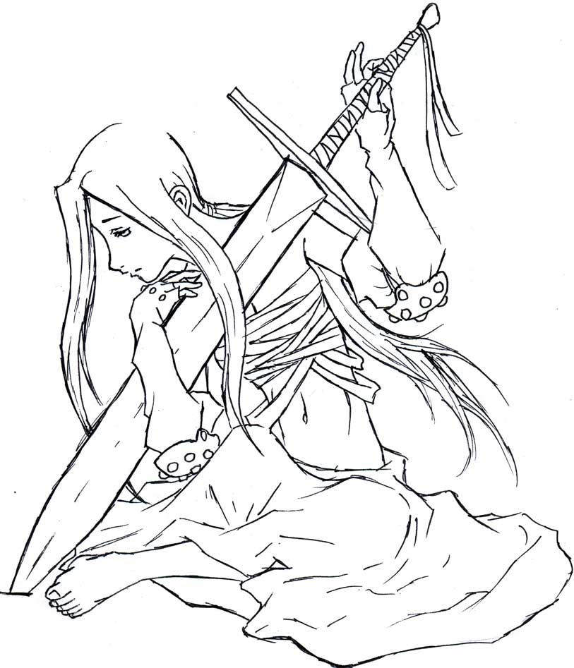 coloring pages warriors - sad female warrior lineart by bloodtear on deviantart