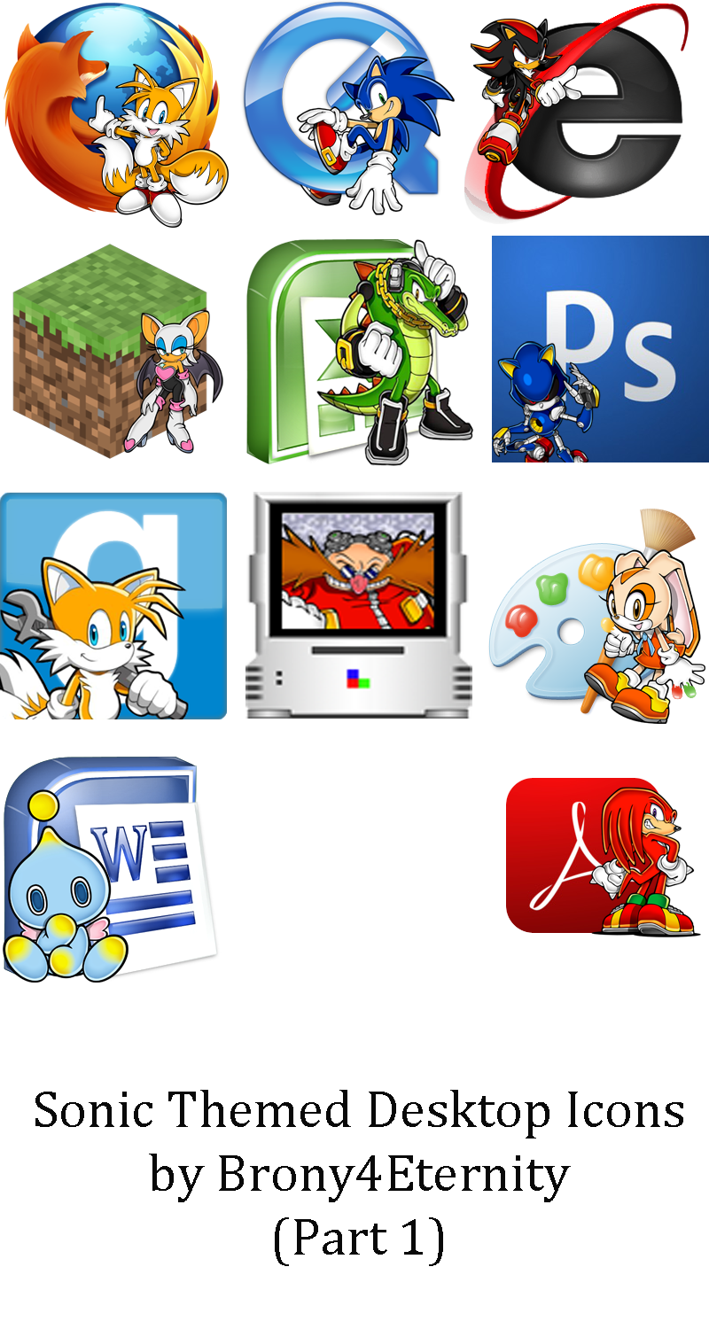 Sonic Themed Desktop Icons by Brony4Eternity
