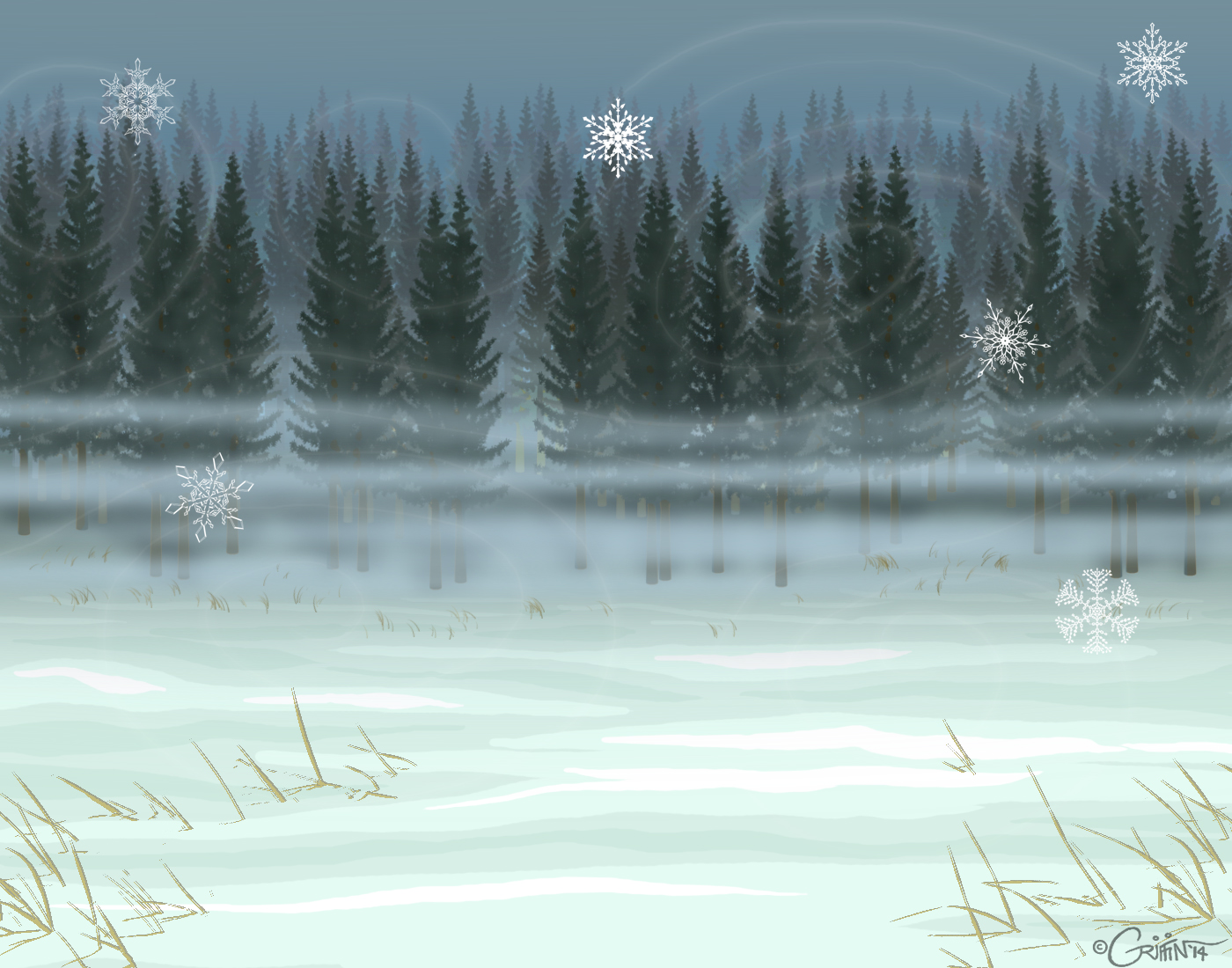 Snowy Pine Forest Free  Use Background By Daggerstale