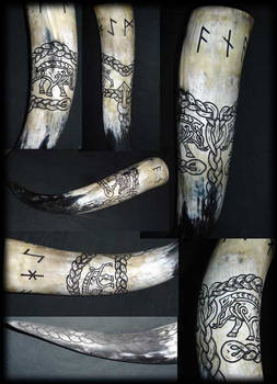 Carved Drinking Horn Vanaheim