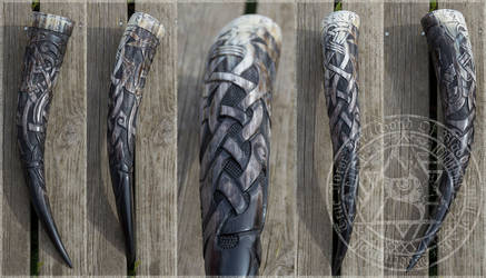 Carved Drinking Horn - Honour by Wodenswolf