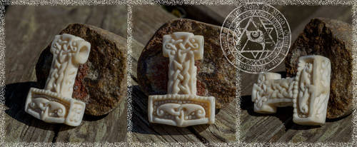 Thor's Hammer Bone Carving by Wodenswolf