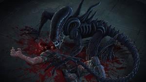 Fanart of my favorite aliens... the XENOMORPH by RedChunks