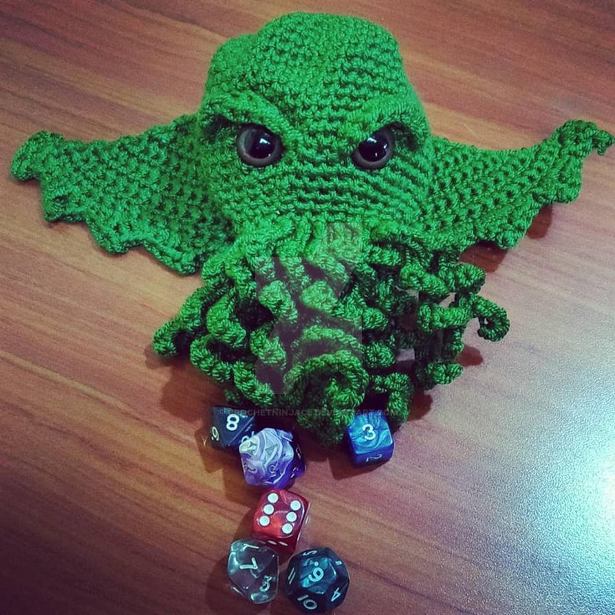 Cthulhu Dice Bag by CrochetNinjaCL