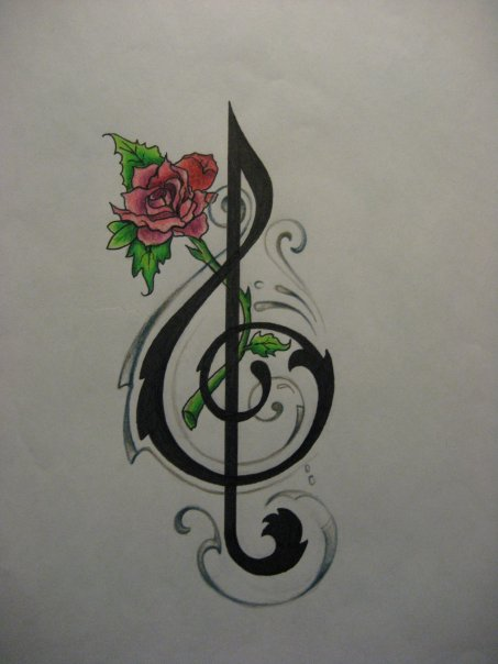 pics of music note tattoos. Music Note Tattoo Desing by