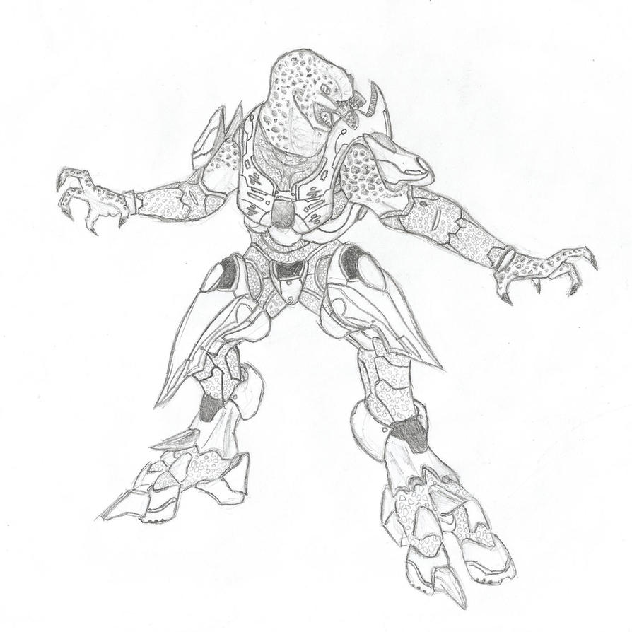 Halo Jackal Drawing Halo 4 Elite ze