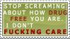 Drug free stamp