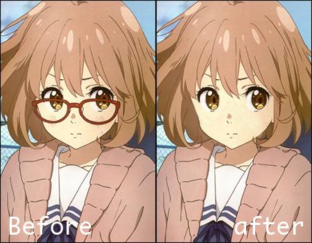 Mirai Kyoukai No Kanata  No glasses Before/After by SeikiYukine