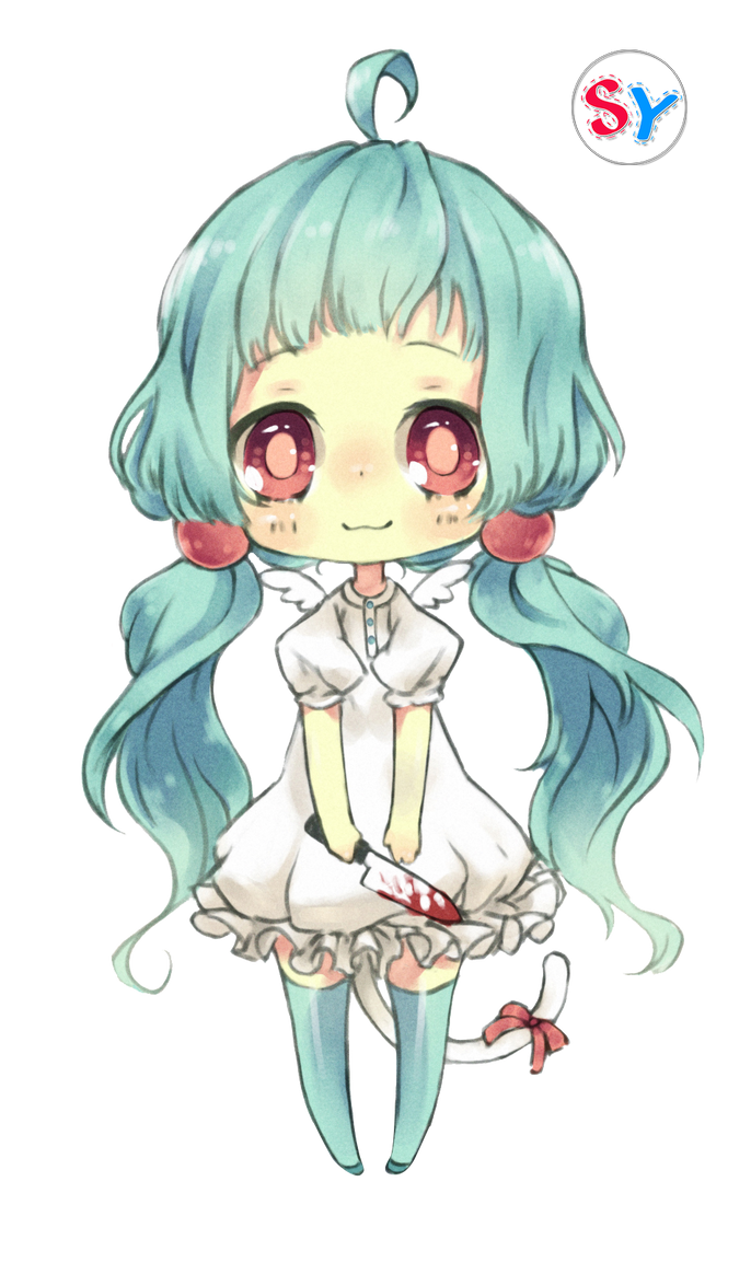 Ninapon Render Blue Hair Anime Girl Chibi By SeikiYukine