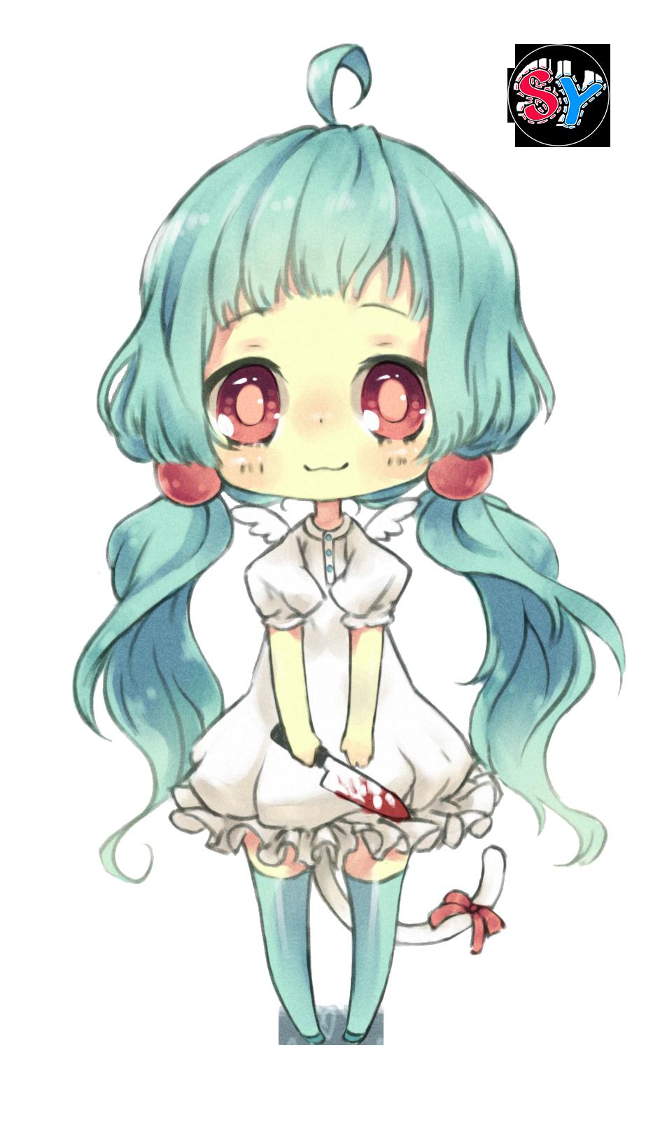 Ninapon render blue hair anime girl chibi by SeikiYukine ...