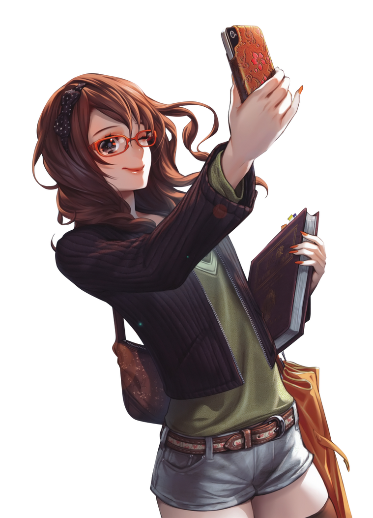 Brown hair anime girl glasses phone render png by seikiyukine