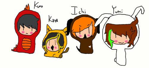 Kuro, Kaya, Ichi, Yumi animals