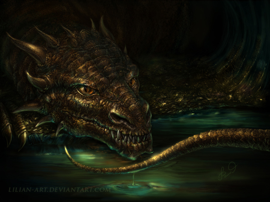 cave of gold dragon by Lilian-art
