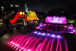 Ken And Lisa -  The Pink Glowing Fountain Park At
