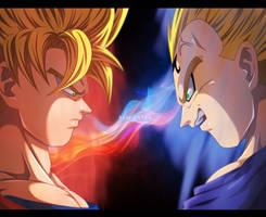Goku vs Majin Vegeta by Sam-Baten